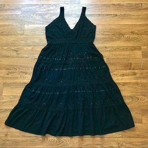 Vintage Black Dress Boho Hippie by JMB Signature
